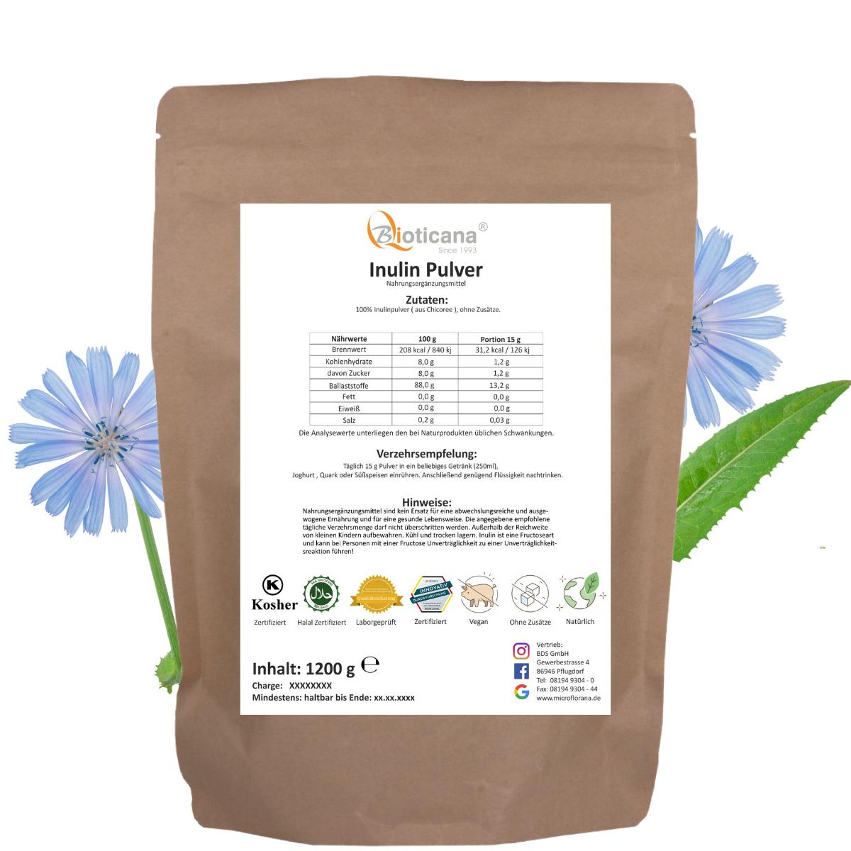 Inulin-Pulver-Vegan-Rücketikett