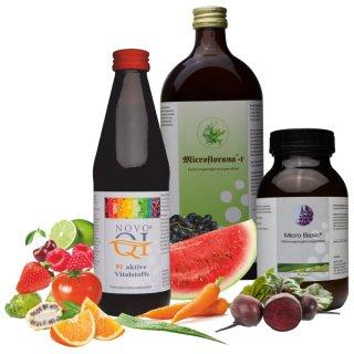 Vitalpaket - Microflorana-F ®, Micro Basic ® Pulver, Novo Qi® Vitalstoffkomplex